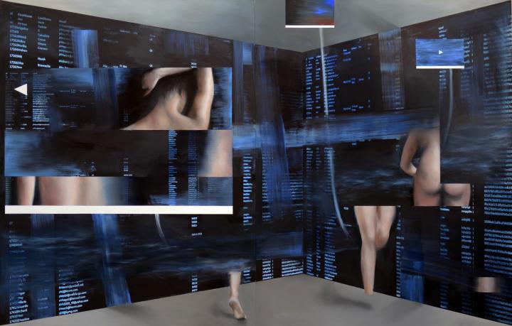 Philippe Hurteau, Studio#7, 2016, huile et alkydes sur panneau composite imprimé, 200 x 320 cm